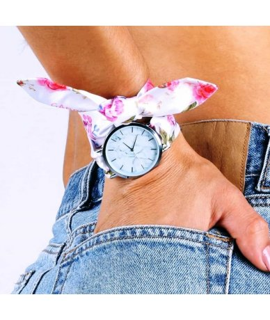 PINK FLOWERS SILVER WATCH
