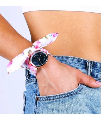 MONTRE PINK FLOWERS ROSE GOLD