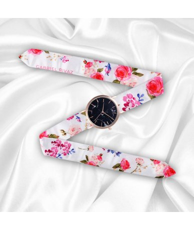 MONTRE PINK FLOWERS GOLD