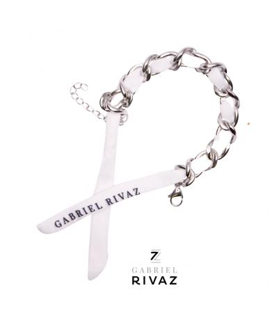 White chain bracelet silk...